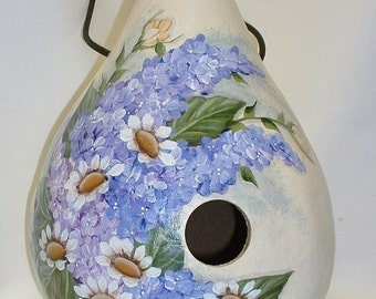 Gourd Birdhouse with Lilacs and Daisies - Hand Painted
