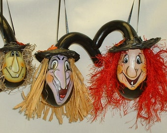 Mini Witch Halloween Gourd Ornaments - Hand Painted