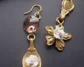 ON SALE Mini Spoon Earrings, Ceramic Flower Earrings, White Rose Earrings, Asymmetrical Earrings, Pink Chandelier, Dangle  Crystal Earrings
