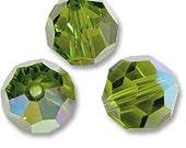 6mm Olivine AB 5000 Round Bead, Swarovski crystal, Crystal Passions®, 6mm Olivine AB 5000 - Pack of 6