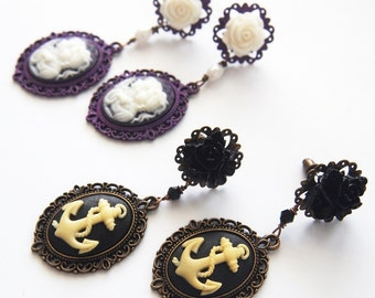 Dangle Earrings Black Anchor Cameos Dangle Stud Earrings Dark Mourning Pastel Goth Chic