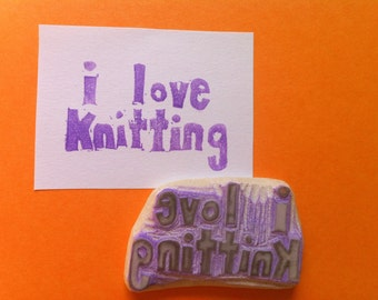 i love knitting stamp, hand carved rubber stamp, handmade rubber stamp