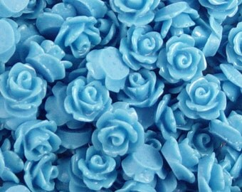 CLEARANCE Cabochon Flower 20 Resin Round Rose Blue Flower 10mm (1017cab10m8-9)os