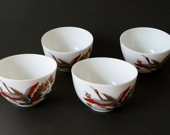 Saki Cups Japanese Set of 4 Decorated Porcelain