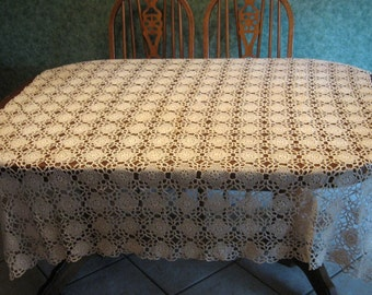 Crocheted Tablecloth Vintage Mid Century Square