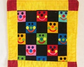 Bright and Smiley Coaster  Mug Rug or Mini Quilt 1