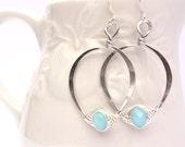 Love Knot Handmade Hoop Earrings Light Blue Faceted Glass
