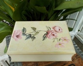 Cottage Chic White Wood Box Shaped As A Book, Hand Painted With Pink Roses , Keepsake Box, Jewelry Box Shaped a Book, Small Box
