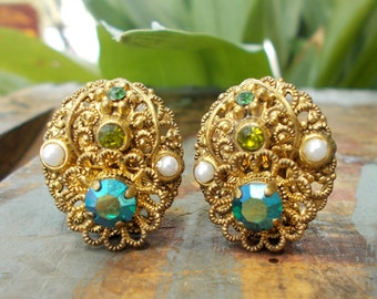 VTG Signed West Germany Estate Pearl   Rhinestone  Filigree Earrings