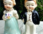 Vintage Double Sided Salt and Pepper Shakers, Anniversary Cake Topper, Young Couple and Older Couple, Ready to Ship