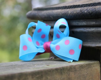 Turquoise with Pink Polka Dots Hairbow