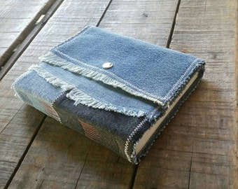 Fringed Soft Cover Patchwork Denim Journal With Snap, Repurposed Blue Denim Art Journal With Snap Closure, Medium  Handmade Denim Sketchbook