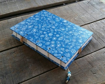 Blue Snowflake Journal, Medium Blank Handmade Winter Book, Coptic Stitch Sketchbook, Winter Blue Snowflake Diary, Christmas Memory Notebook