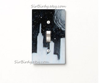 Ready to ship Galaxy City light switch cover switchplate single toggle fantasy outerspace space stars moon cityscape original artwork custom