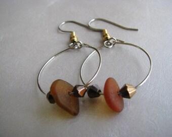 Beach Glass Earrings - Sea Glass Earrings - Hoop Earrings - Amber Brown -Ocean Jewelry Earrings Gift- Sea Glass Gift- Mermaid Tears Earrings