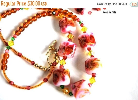On Sale Pink and Yellow Necklace and Earring Set, Lampwork Beads, Handmade Jewelry Set