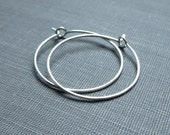 Sterling Silver Earrings - 1 Inch Small Hoops - Hammered - Thin and Dainty - Simple Modern Minimal Wire Jewelry