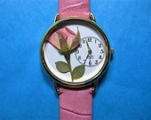 Womens Watch, Leather Wrist Watch with Pressed Pink Rose and Leather Band Bracelet Woman