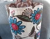 Car Trash Bag Reusable in Blue, Black, and Brick Red Flowers on a Brown and Cream Background, Car Accessory, Litter Bag