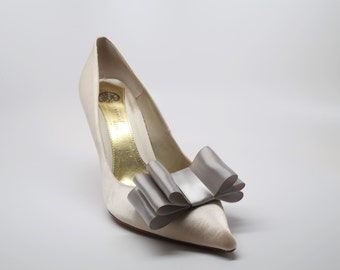 Gray Satin Ribbon Bow Shoe Clips Set Of Two, More Colors Available