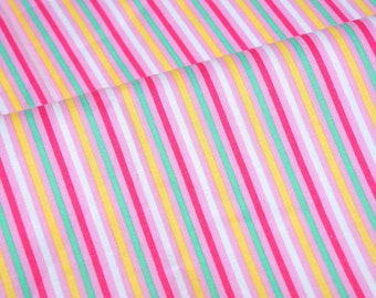 Colorful stripes print Japanese fabric half meter  nc54