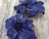 Reserved for Karol    BLUE FLOWERS Large PENDANT Violet Purple (6) Orchid, Lilly, Daffodil, Hibiscus