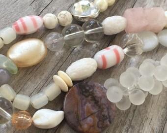"PINK DESTASH Bead Lot 21"" strand GEMSTONE Rose Quartz Vintage Pearl Glass Cats Eye"