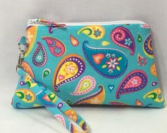 Colorful Paisleys ~ Raegan Wristlet