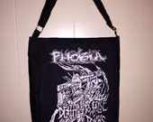 Phobia Punk Crust Punk Band Upcycled T Shirt Music Messenger Bag Black Duck Cloth Canvas