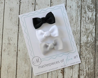 NEW Set of 3 Bow Hair Clips - center knot - black, white, silver grey - no slip grip clippies - grosgrain hairbows - basic hair bow set