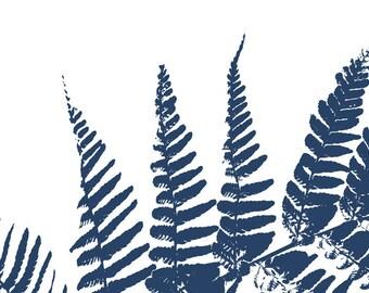 Indigo Wall Art Print Botanical Blue Fern Leaf Nature Artwork