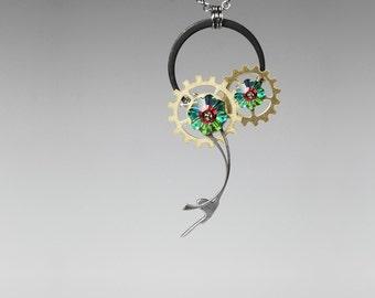 Steampunk Pendant with Vitrail Medium Swarovski Crystal, Swarovski Necklace, Green Swarovski, Statement Pendant, Chronon v7
