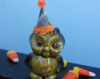 Vintage Style Halloween - Ceramic Owl Figure with Witch Hat. Orange Fringe Band