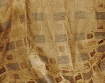 Vintage Upholstery Panel TEXTILE Thick texture Beige Blue Silver Yellow 75lx57w in