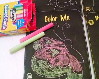 SALE Reusable chalkboard coloring book activity book felt quiet book 6 pages just color and wipe away