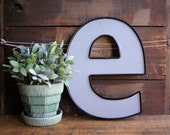 Vintage Store Signage Lower Case Letter e Industrial Wall Decor Plastic Lettering Sign Initial e Gray and Black