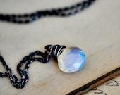 Gemstone Necklace, Opalite Necklace, Opal Jewelry, Opal Pendant, Glass Jewelry, Sterling Silver, PoleStar Jewelry, Gemstone Jewelry