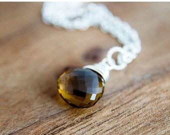 ON SALE Whiskey Quartz Necklace, Gemstone Necklace, Gemstone Pendant, Whiskey Quartz, Quartz Necklace, Sterling Silver, Caramel Brown, PoleS