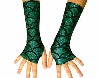 Children's Shiny Holographic Thumb hole gloves mermaid sparkle rock star stocking stuffer