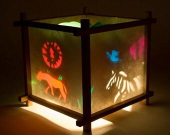 Paper Lanterns,Rotationg Lamp, Decorative Lantern, Spinning Lamp, Small Lamp, Kids Night Light, African Safari Harmony Lantern