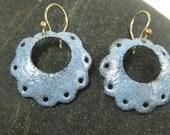 Blue Enameled Hoop Earrings with Gold Wires