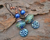 Handmade Blue Nebula Lampwork Earrings