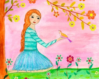 Girl Nursery Decor - Children Decor - Nursery Art Girl with Birds Art Print - Girl Painting - Girl Art - Princess Art Print