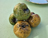 Paper Mache Fruit Decor, Crackled Green and Yellow Apricot Accent Fruit