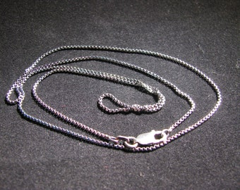 """Hand Oxidized Sterling Silver 1.1mm Rounded Box Chain 20"""""""