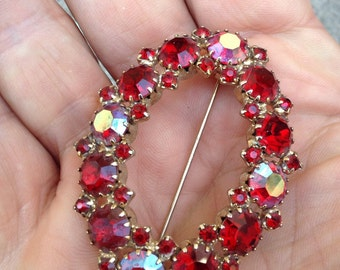 Ruby Red Faceted Rhinestone Oval Brooch