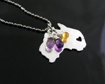 Australia Map Necklace, I heart Australia, Perth Necklace, Western Australia Necklace, Travel Necklace, Holiday Jewelry