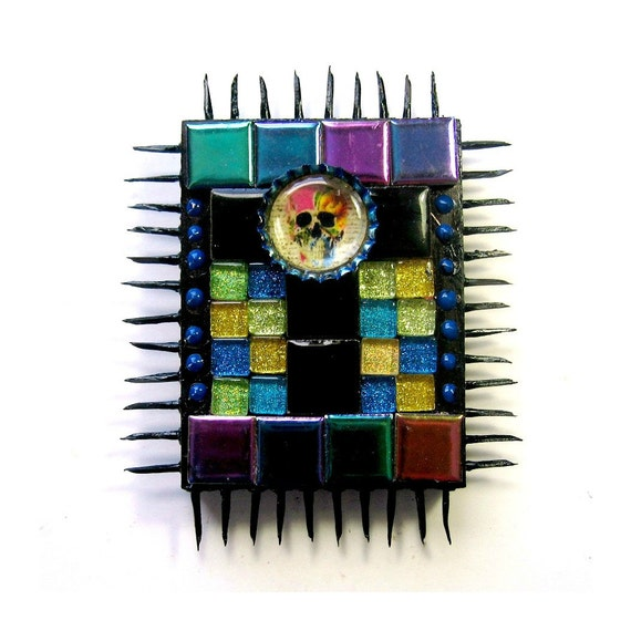 Day of the Dead Mosaic Mixed Media Art, Day of the Dead Wall Decor, Spiky Skull Mixed Media Art, Día de Muertos Mosaic Mixed Media Art