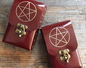 Gold Pentacle Etched Blood Red Patent Leather Tarot Deck Cards Holder Pouch Soft Case