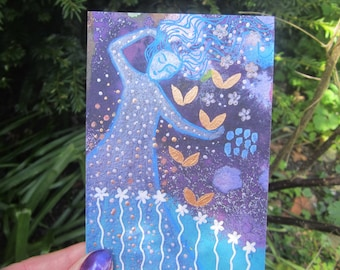 Night Dreaming, original mixed media painting 3.5 x 5ins. flowers, sparkles, wall art